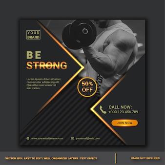 ジムフィットネスソーシャルメディア投稿デザインテンプレート