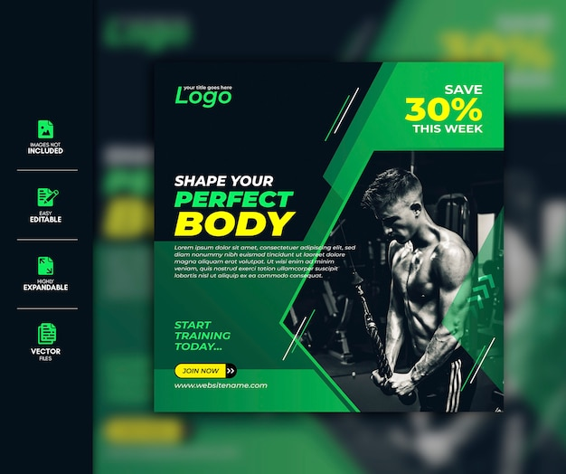 Gym and fitness social media post facebook post instagram story template premium