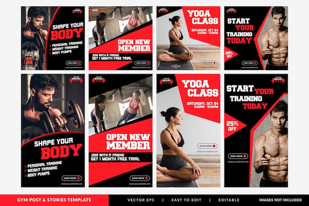 Gym fitness social media post and stories  template