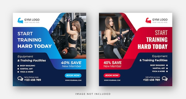Gym fitness social media post web banner or square flyer template