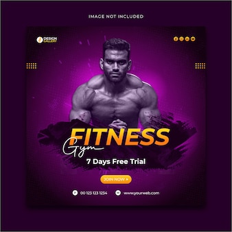 Gym and fitness social media promotional post template design