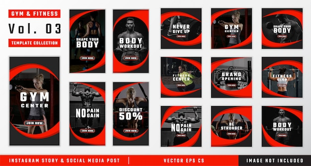 Gym & fitness social media template collection