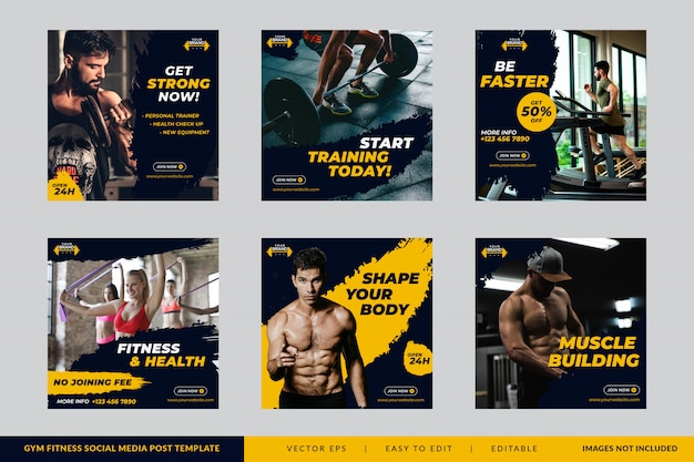 Gym fitness square banner template set