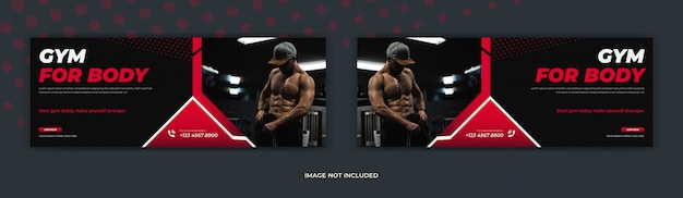 Gym fitness training center social media post facebook cover page timeline web ad banner design