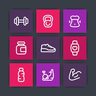 Gym, fitness training icons, line pictograms