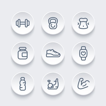 Gym, fitness training icons pack, round line pictograms, vector illustration