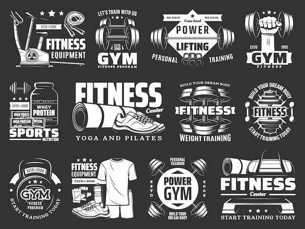 Gym fitness training, sport equipment shop icons