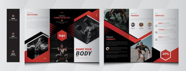 Gym and fitness trifold brochure template premium vector
