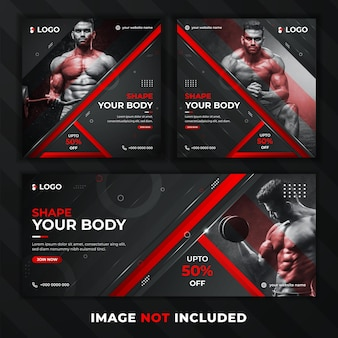 Gym and fitness web banner with black and red color shapes