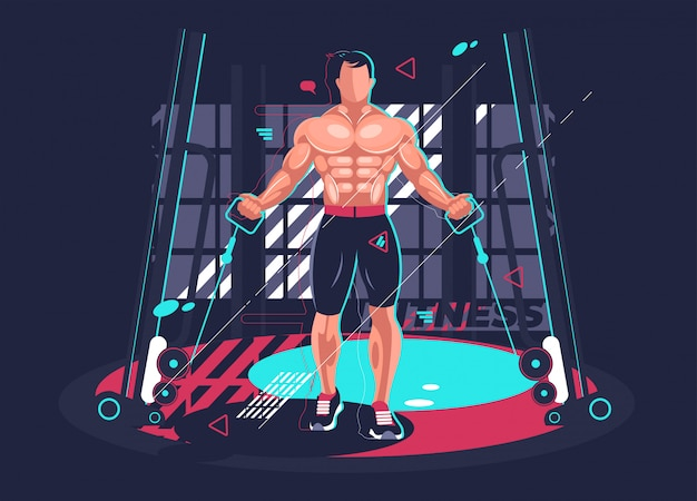 Gym fitness with strong man. vector illustration