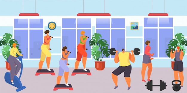 Gym for fitness and workout exercise,  illustration. man woman people character training sport, cartoon healthy lifestyle.