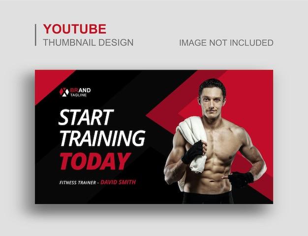 Миниатюра на youtube и шаблон веб-баннера тренажерный зал фитнес