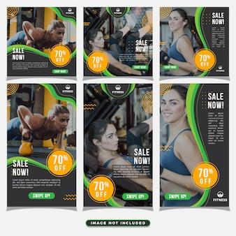 Gym fitness социальные медиа пост и шаблон рассказов