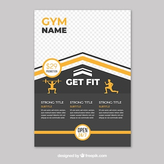 Gym flyer template with flat design