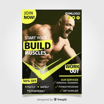 Gym flyer template with photo