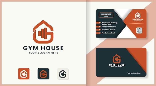 抽象的な文字gロゴデザインと名刺とジムの家