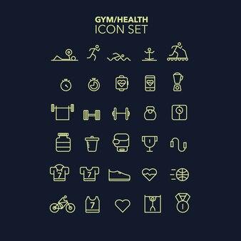 Gym icon set