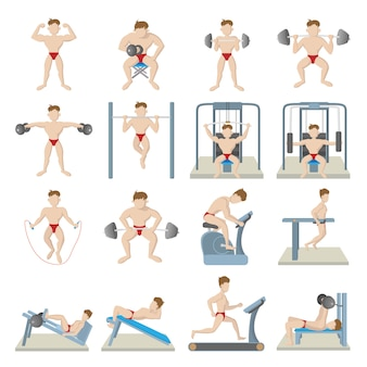Gym icons set in cartoon style isolated vector