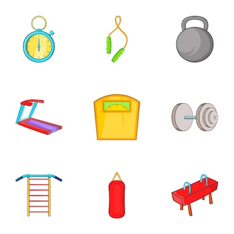 Gym icons set, cartoon style