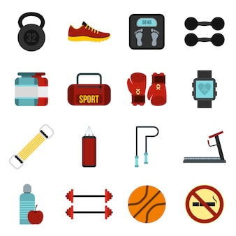Gym icons set