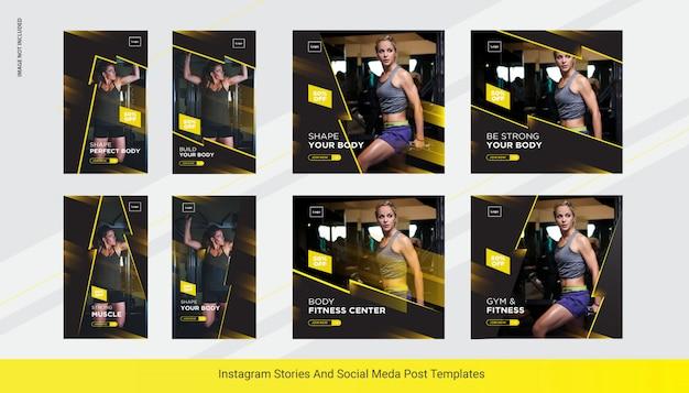 Gym instapost рассказывает баннер, шаблон поста в социальных сетях