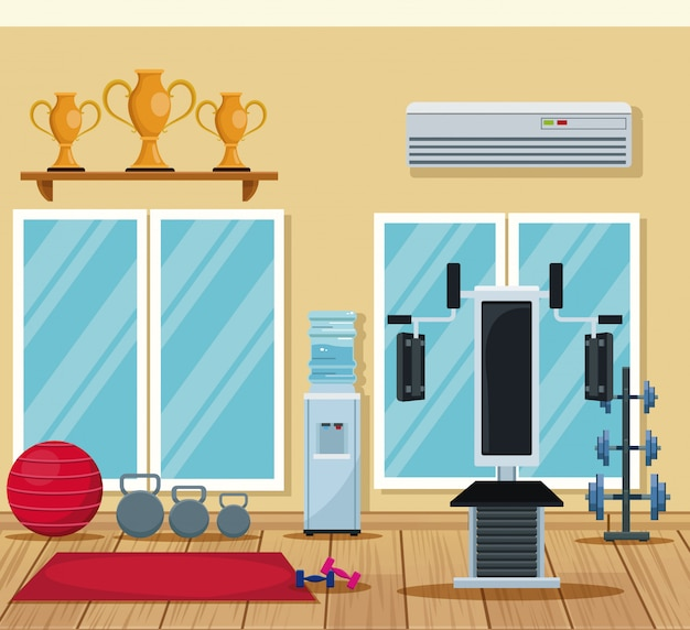 Gym interior equipment scenery