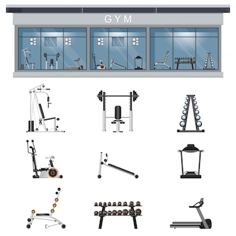 Gym interior icon set with fitness gym equipment  on background.