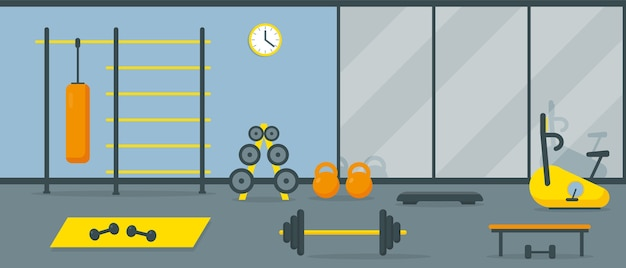 Gym interior with workout equipment and mirror.