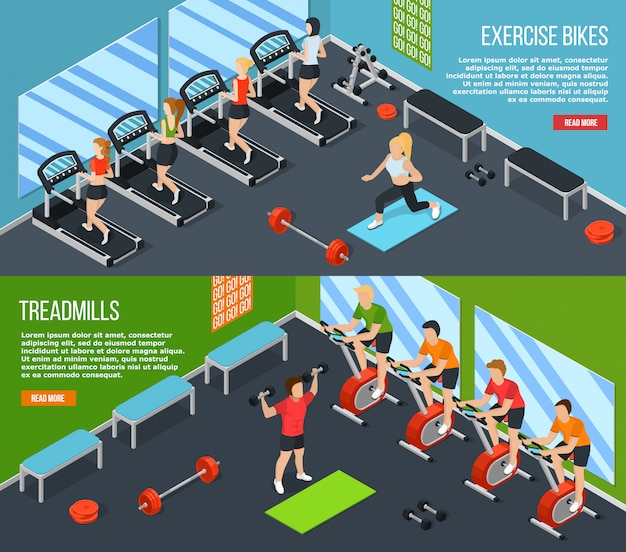 Gym isometric banner set