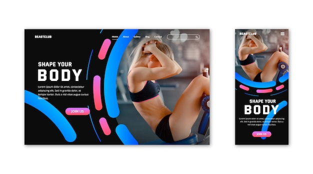 Gym landing page template