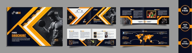 Gym landscape brochure design with yellow and deep blue color abstract shapes.