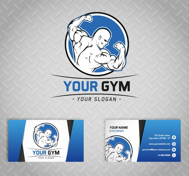 Gym logo and business cards on metal background