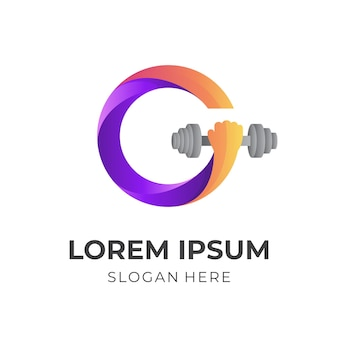 Gym logo, letter g and arm, combination logo with 3d orange and purple color style