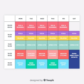 Gym or workout schedule template