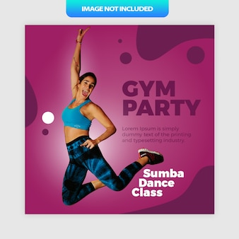 Gym party sumba dance social media post or banner