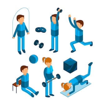 Gym people isometric. fitness sport characters workout exercises body pump and strength  3d low poly models