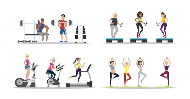 Gym people set. men and women doing exercises.