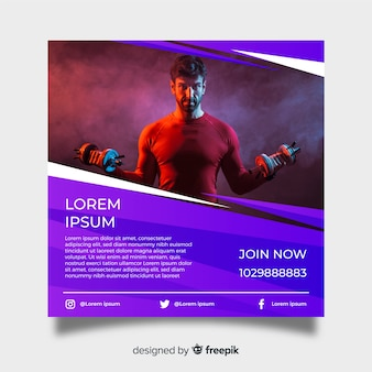 Gym poster template with photo