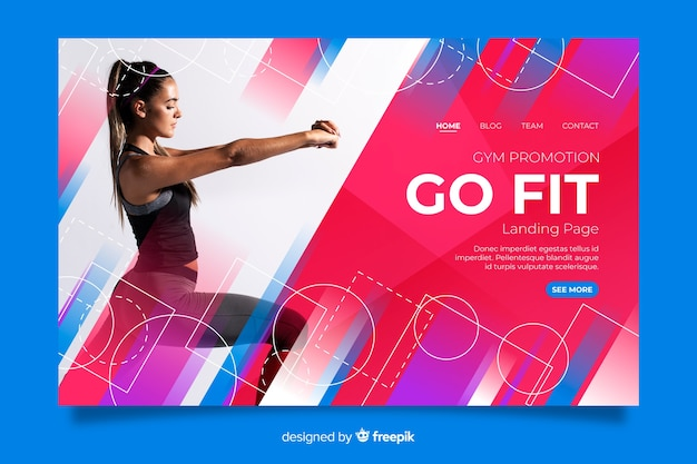 Gym promotion landing page with image