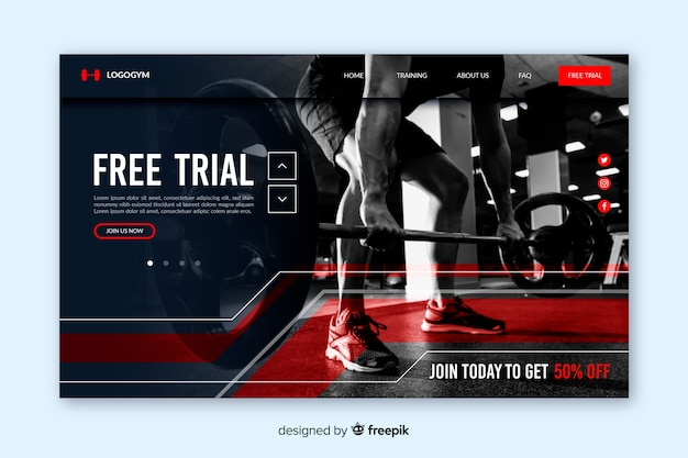 Gym promotion landing page with photo
