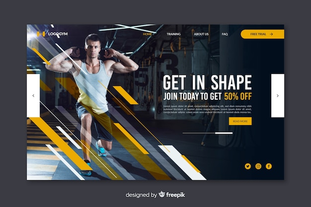 Gym promotion landing page with picture