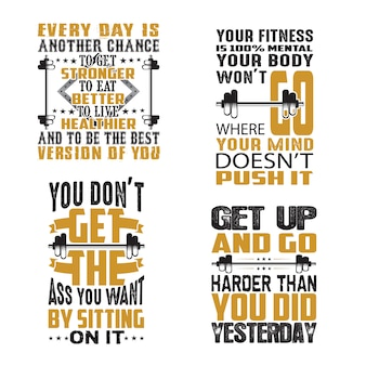Gym quote and saying set