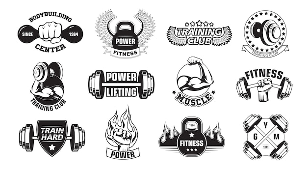Gym retro logos set