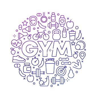 Gym   round design with line icons on white