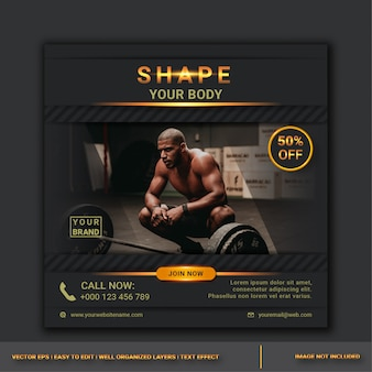 Gym sale social media post design template