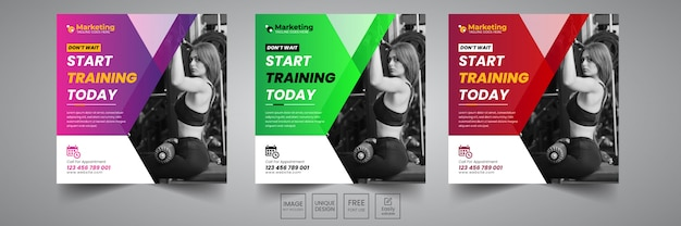 Gym social banner design template