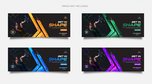 Gym social media cover template multiple gradient color