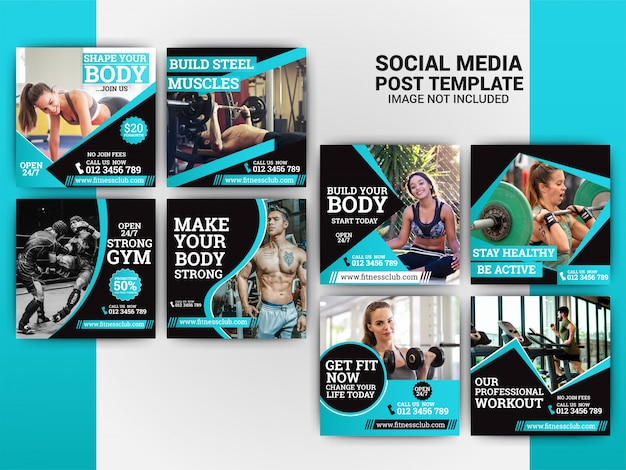 Gym social media marketing set template