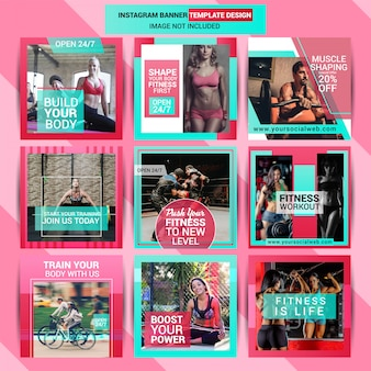 Gym social media post template design