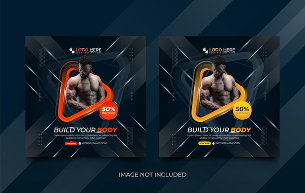 Gym social media post template set with 3d shapes